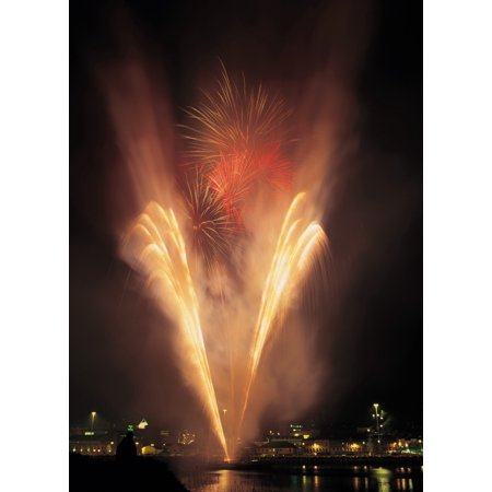 Derry Co Derry Ireland Display Of Fireworks Canvas Art - The Irish Image Collection  Design Pics (24 x 36)