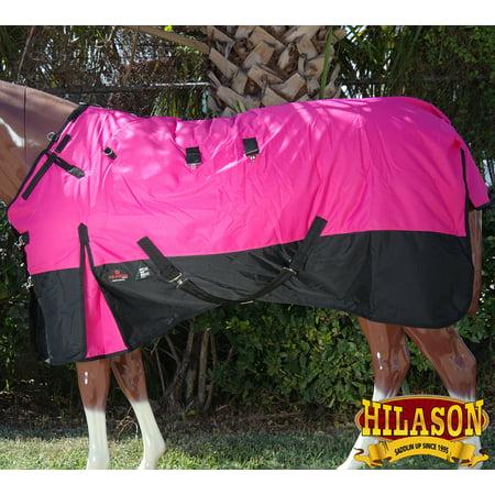 HILASON 1200D RIPSTOP WATERPROOF TURNOUT WINTER HORSE BLANKET PINK BLACK