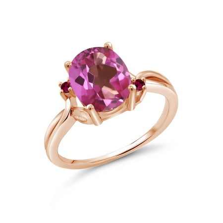 3.28 Ct Oval Pink Mystic Topaz Red Created Ruby 18K Rose Gold Plated Silver Ring ()