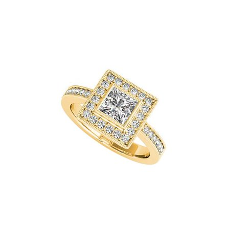 1.50 CT 14K Yellow Gold Bezel Set Cubic Zirconia Square Halo Engagement Ring, Size 6 - image 1 de 1