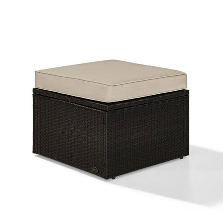 Crosley Furniture KO70091BR-SA Palm Harbor Resin Wicker Outdoor Ottoman (Brown/Sand)