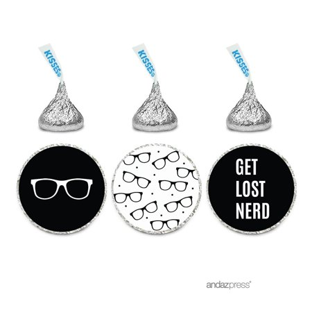 Funny Farewell Retirement Party Decorations, Get Lost Nerd, Chocolate Drop Labels , Hershey's Kisses Favors, 216-Pack