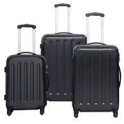 GLOBALWAY 3 Pcs Luggage Travel Set Bag ABS+PC Trolley Suitcase Black by Costway