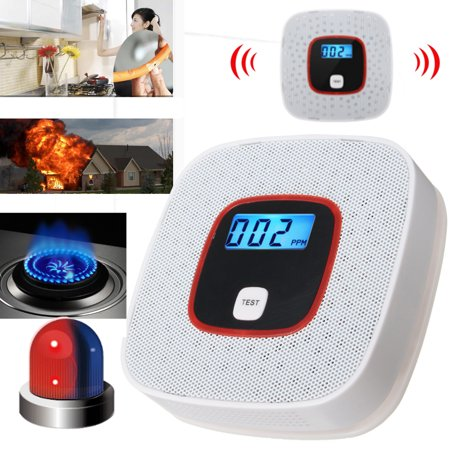 Smart CO Carbon Monoxide Detector Fire Gas Leaks Security Sensor Voice Alert Loud Alarm Detector Monitor Home with LCD Digital Display Backlight 000-999PPM Battery Opearted