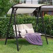 Gymax Patio Canopy Swing Outdoor Swing Chair 2-Person Canopy Hammock Beige
