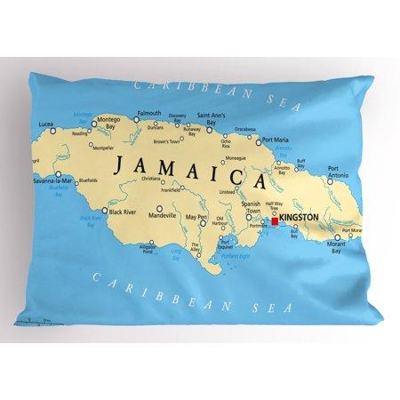 Jamaican Pillow Sham Map of Jamaica Kingston Caribbean Sea Important ...