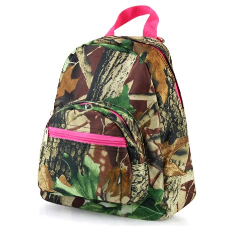 Stylish Kids Small Travel Backpack by Zodaca Girls Boys Bookbag Shoulder Children's School Bag for Outside Activity - Natural Camouflage with Pink Trim - Camo Bookbag