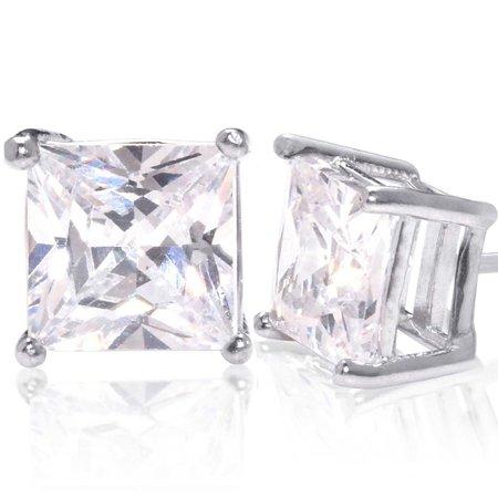 8fa1fee17 Kezef Creations - Square Princess Cut 15mm white Cubic Zirconia .925 Sterling  Silver Basket Setting Unisex Stud Earrings - Walmart.com