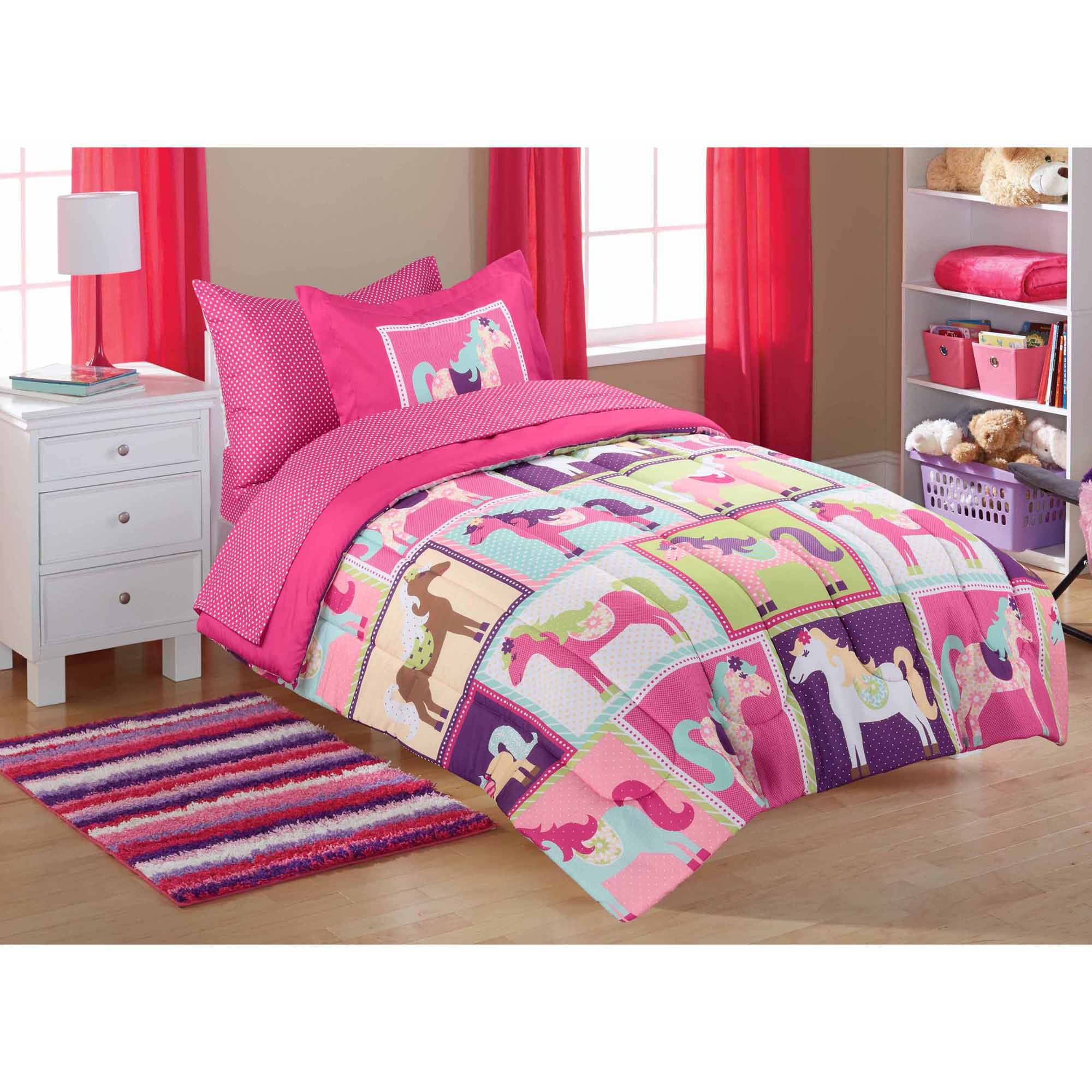 mainstays kids' coordinated bed in a bag, pink horsey - walmart