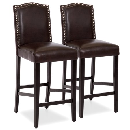 Best Choice Products Set of 2 30in Contemporary Faux Leather Counter Height Armless Backed Accent Breakfast Bar Stool Chairs for Dining Room, Kitchen, Bar w/ Studded Nail Head Trim - Brown ()