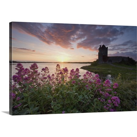 Great BIG Canvas | Gareth McCormack Premium Thick-Wrap Canvas entitled Sunset Over Dunguaire Castle, Kinvara, County Galway, Ireland