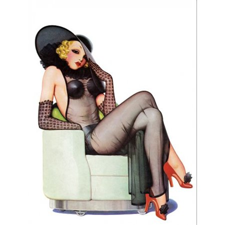 Black Negligee - Pinup Girl Blonde With Black Negligee And Canvas Art -  (24 x 36)