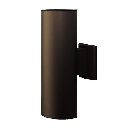 NICOR Lighting 15-inch Outdoor Cylinder Wall Sconce Up and Down Bullet Light, Architectural Bronze (50132BA)