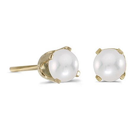 Freshwater Cultured 4 MM Pearl Earring Studs in 14K Yellow Gold Prong Set 14k Double Cultured Pearl Earring