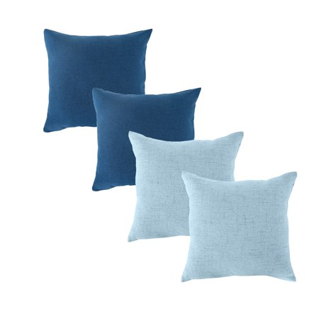 Set of 4 Throw Pillow Covers Coastal Cushions Fine Faux Linen Home Decorative Soft Pillow Case Covers With Zipper for Chair No Pillow Insert Outdoor Indoor Home Decor 18 x 18 inch 45*45cm](Outdoor Home Decor)