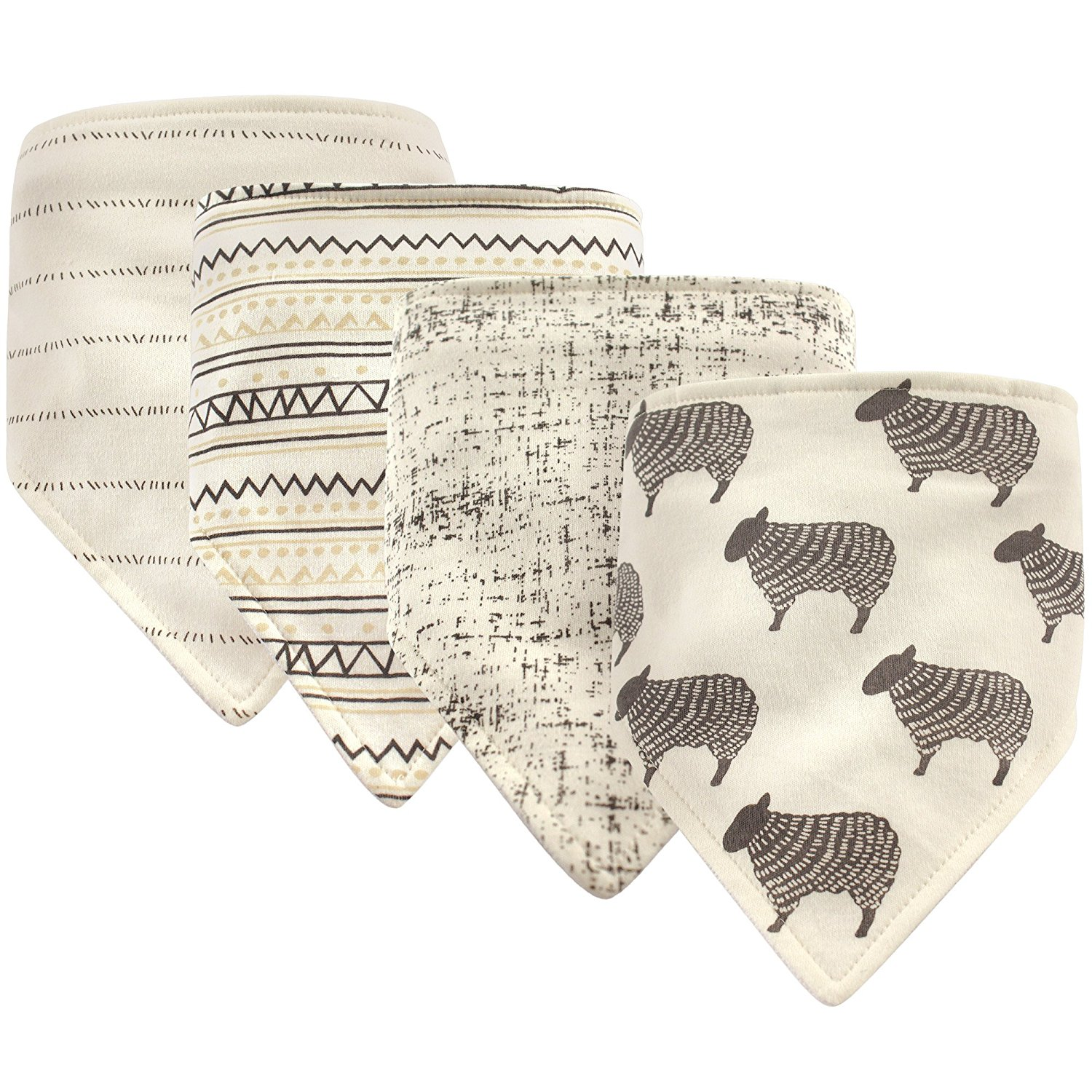 Bandana Bib, 4 Pack Accessory, sheep, One Size, Front: 100% Cotton, Back: 80% Cotton, 20% Polyester By Hudson Baby From USA