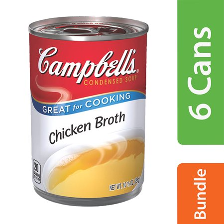 (6 Cans) Campbell's Condensed Chicken Broth, 10.5 (The Difference Between Chicken Stock And Broth)