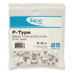 ICC MODULE- F-TYPE NICKEL PLATED 25 PK WHITE