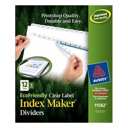 Avery Print & Apply Clear Label EcoFriendly Dividers, Index Maker Easy Apply Printable Label Strip, 12 White Tabs, 5 Sets (Unpunched Index Maker)