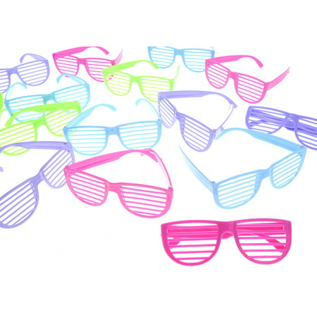 Bisontec Plastic Shutter Shades Glasses (12Pairs/PK, Purple,Blue,Green, And (Purple Plastic Glasses)