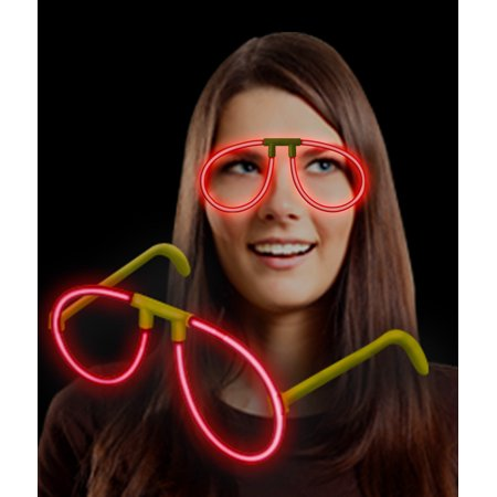 Fun Central (P84) 1 pc Red Glow Eye Glasses, Glow in the Dark Eye Glasses, Glow Stick Eye Glasses, Glowing Eye Glasses - Glass In Glow Sticks