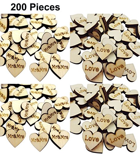 Wedding Decorations Wooden Mr and Mrs Love Hearts for Wedding Reception Table Dispaly Scatter Crafts Decorations 200 Pieces