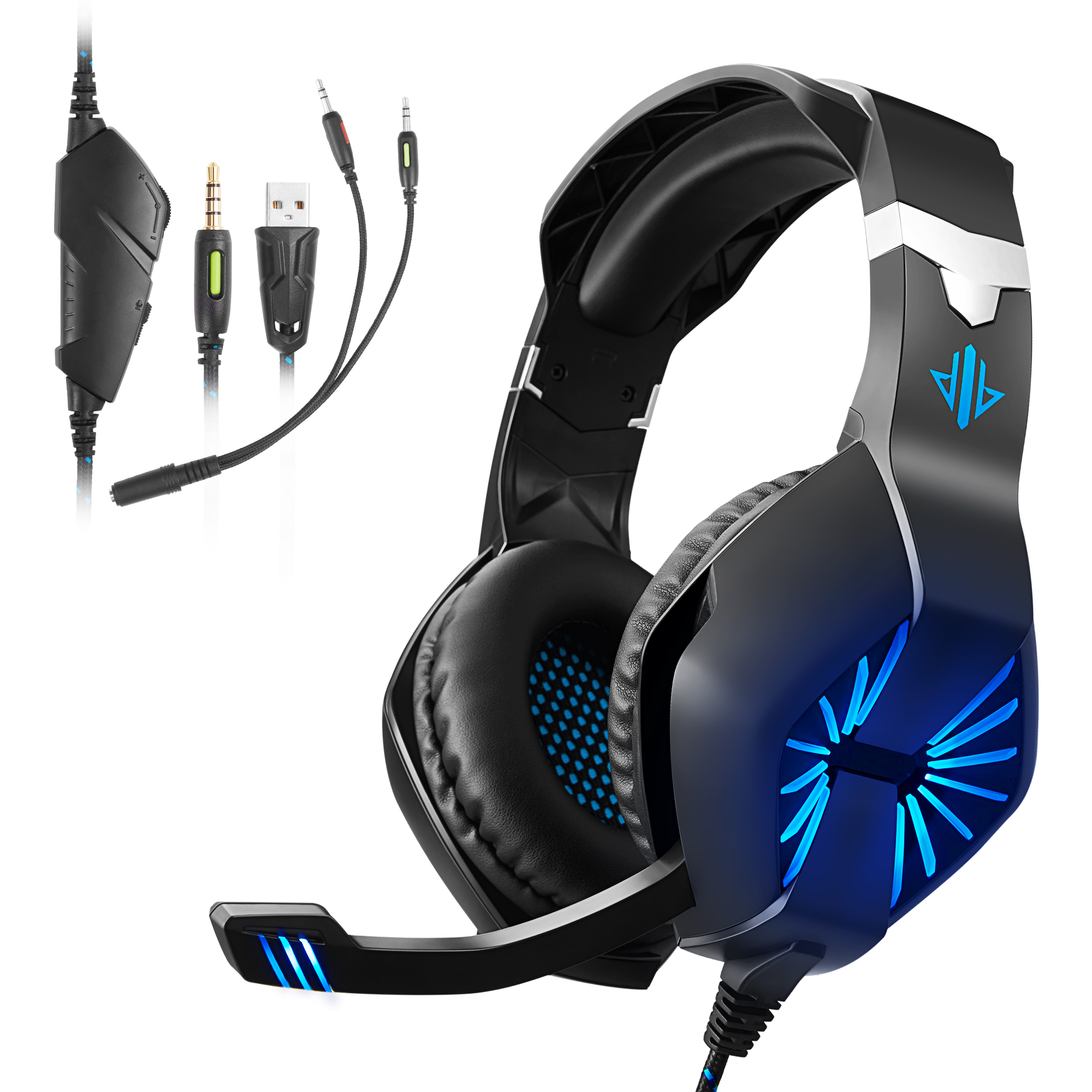 Gaming Headset Xbox One Surround Sound Stereo, PS4 Headset with Noise Canceling Mic & LED Light, Compatible with PC, PS4, Xbox One Controller(Adapter Needed), Nintendo Switch