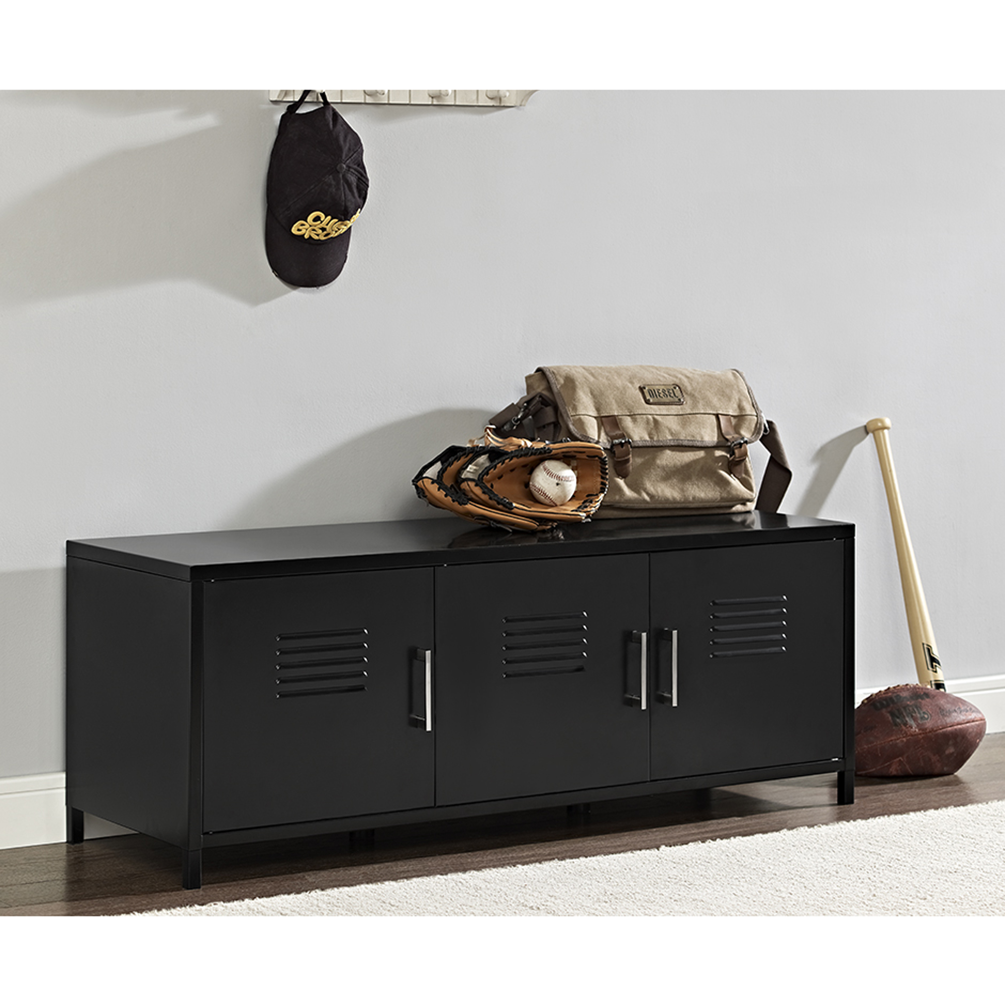 "48"" Metal Locker Style Storage Bench - Black (Multiple Colors Available)"