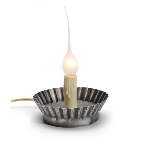 Candle Lamp - Electric - Pie Tin Base in Antique Pewter - 2.5 (Antique Pewter Base)