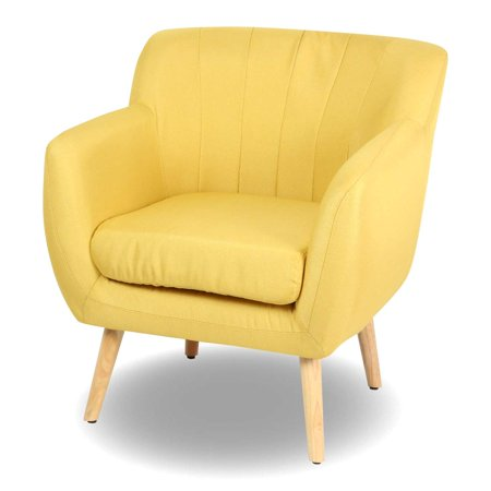 Magshion Mid-Century Modern Living Room Accent Chair Club Chair Single Sofa Fabric Yellow