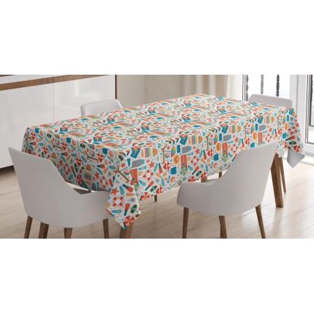 Flip Flop Tablecloth, Absurd Design of Swimming Theme Icons Slippers Snorkeling Mask Bikini and Towels, Rectangular Table Cover for Dining Room Kitchen, 60 X 90 Inches, Multicolor, by Ambesonne - Flop Of The Pops