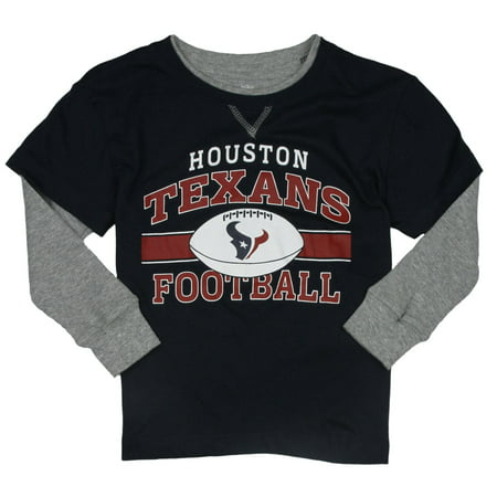 NFL Football Kids Boys Houston Texans Long Sleeve Faux Layer Shirt - Navy (Long Sleeved Navy Blue Shirt)