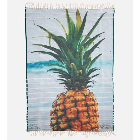 Reversible Beach Towel - Bamboo Beach Towel - Reversible - Green Stripe & Pineapple