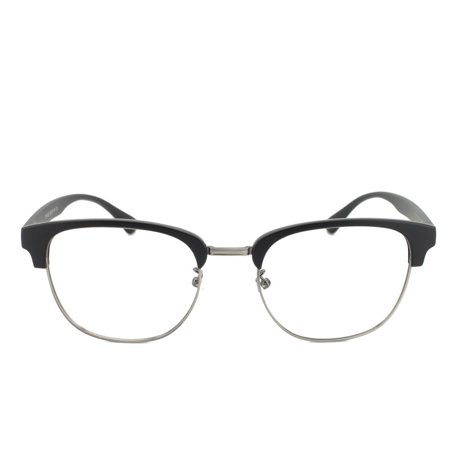 Eye Buy Express Prescription Glasses Mens Womens Matte Black Quarter Rim Retro Style Reading Glasses Anti Glare (Thick Rimmed Prescription Glasses)