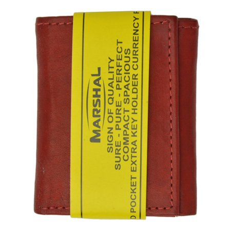 Brown Leather Tri Fold Wallet - Genuine Leather Childrens Small Trifold Kids Wallet Gift 825 (C) Brown