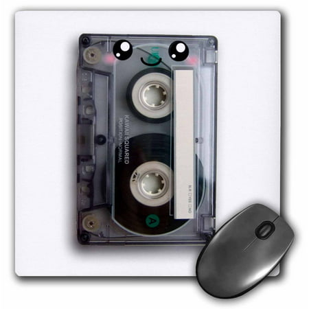 3dRose Cute happy cassette tape - retro music 80s eighties 90s - kawaii smiley face - smiling sweet cartoon, Mouse Pad, 8 by 8 inches