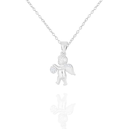 925 Sterling Silver White Clear CZ Love Heart Cupid Angel Pendant Necklace, 18