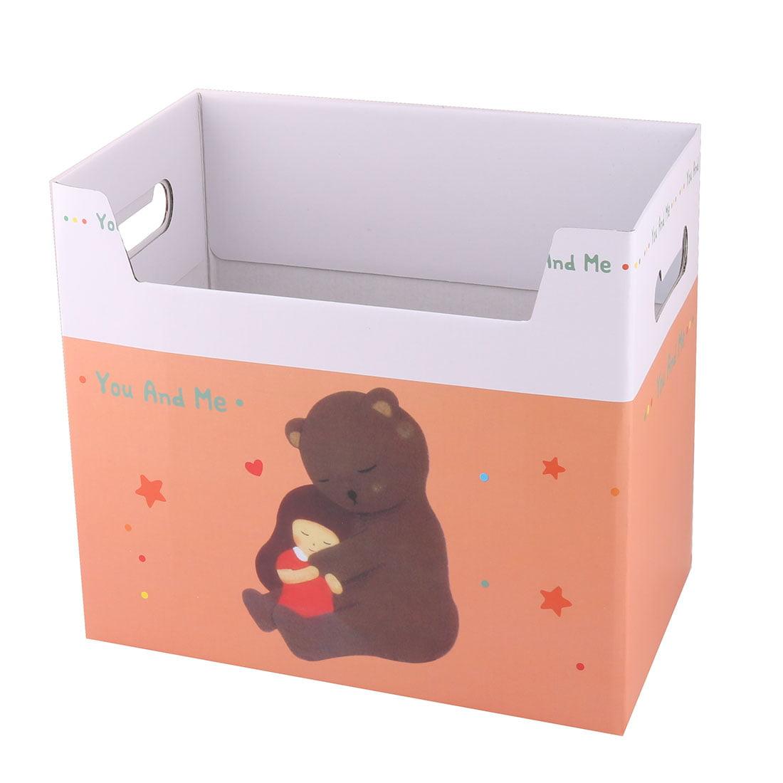Unique Bargains Office Paper Bear Pattern Rectangular DIY File Documents Book Holder Storage Box