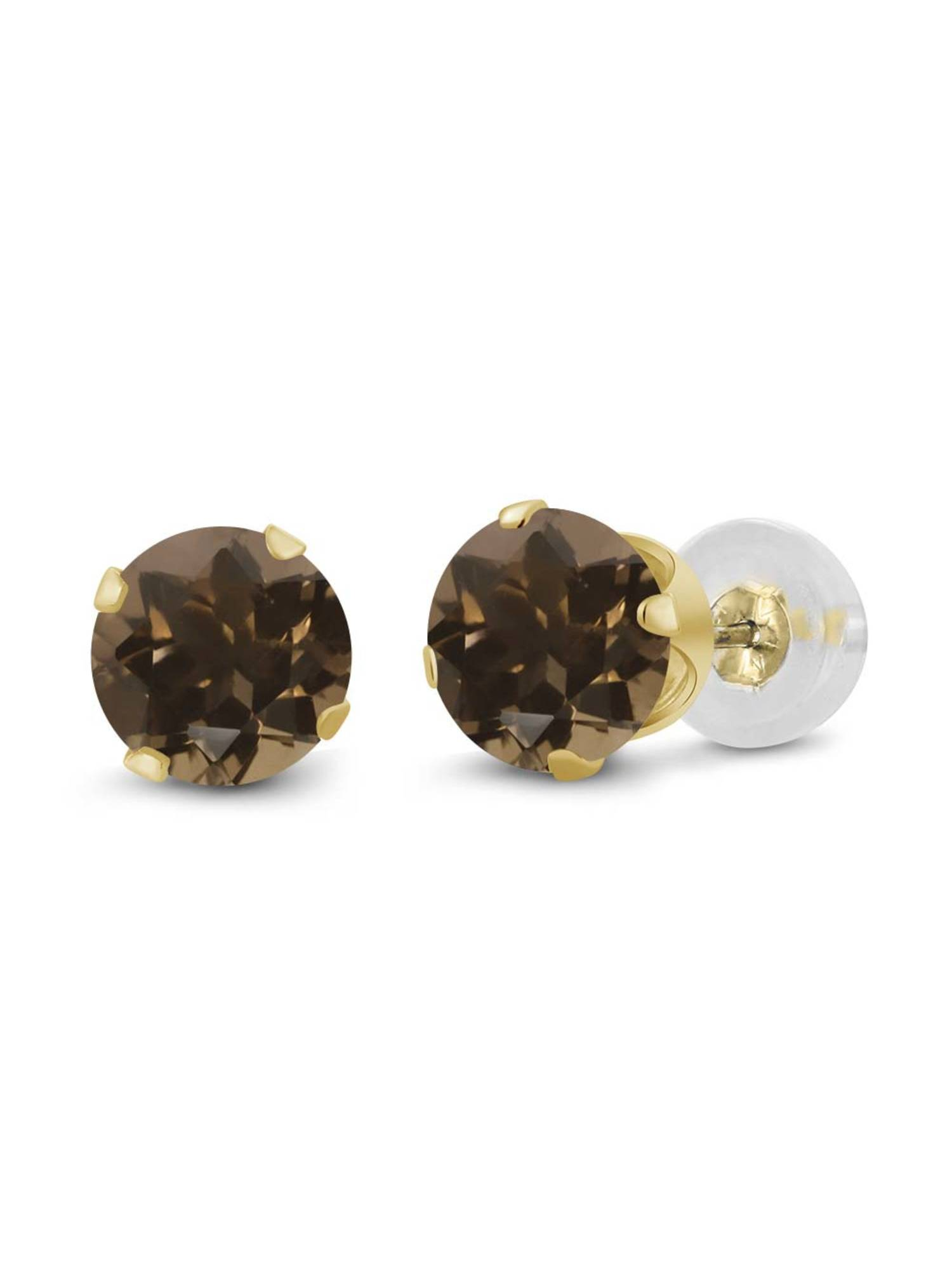 0.92 Ct Round 5mm Brown Smoky Quartz 14K Yellow Gold Stud Earrings