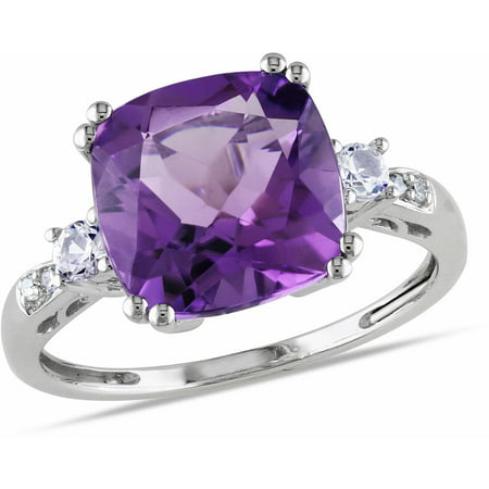 4-1/6 Carat T.G.W. Cushion-Cut Amethyst, Created White Sapphire and Diamond-Accent 10kt White Gold Cocktail Ring 1.25 Carats Amethyst Ring