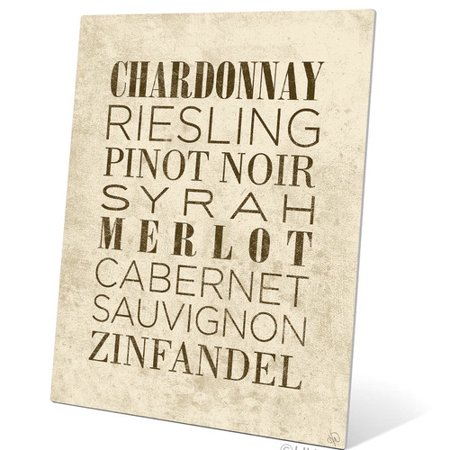 Merlot White Zinfandel Wine - Click Wall Art List of Wine Textual Art