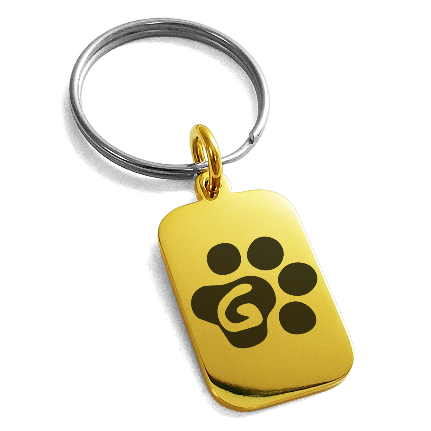 Stainless Steel Letter G Initial Cat Dog Paws Monogram Engraved Small Rectangle Dog Tag Charm Keychain Keyring