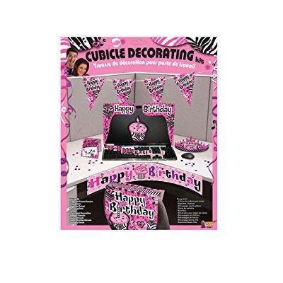 F72498 Pink Cubicle Birthday Decorating Kit