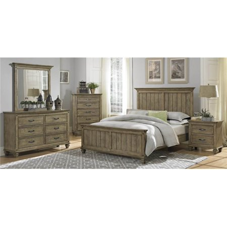 4 Pc Transitional Bedroom Set In Driftwood Oak Finish