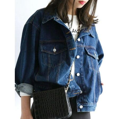 Lavaport Vintage Women Casual Loose Jeans Coat ()