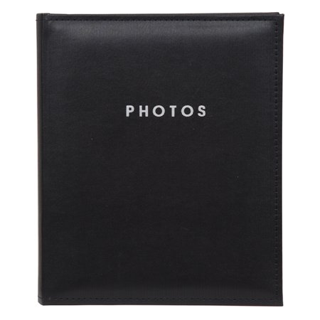 Pinnacle Black Faux Leather 8x10 Self Adhesive Magnetic Photo Album Scrapbook, 80 Pages Black Leather Photo Album