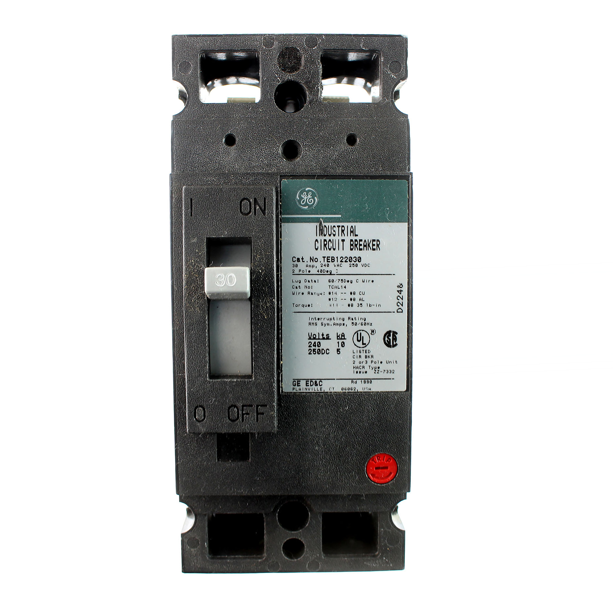 GE TEB122030 Mag-Break Industrial Electric Circuit Breaker 30A 600V 3-Pole