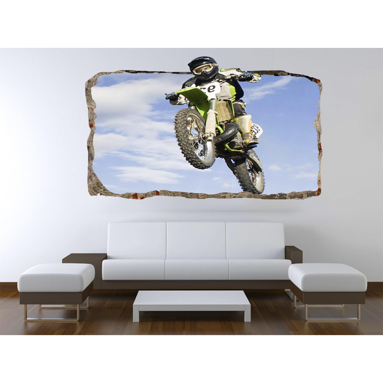 Startonight 3D Mural Wall Art Photo Decor Motocross Jump Amazing