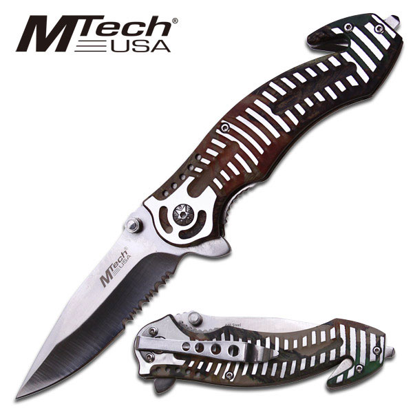 "NEW! Mtech 4.5"" Silver Striped Brown Camo Handle Folding Knife Rescue Serrated"