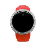 Techno Pave Iced Out Bling Lab Simulated Diamond Silver Plated Red Digital Touch Screen Sports Watch Rubber Band